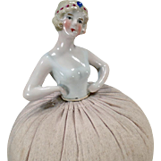 Vintage Flapper Pincushion Doll – Old Porcelain Doll with Jeweled Headband and Original Pin Cushion Base