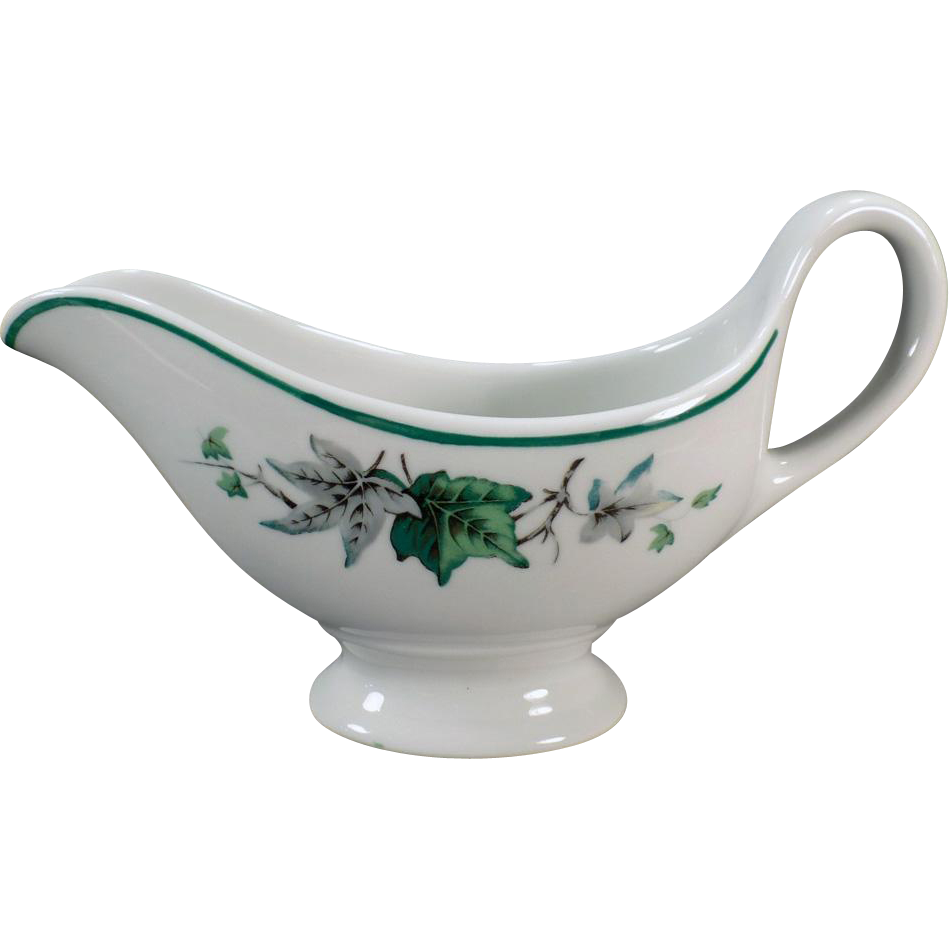 Vintage Restaurant China – Old Sauce Pitcher with Ivy Glen Pattern – Shenango 1961