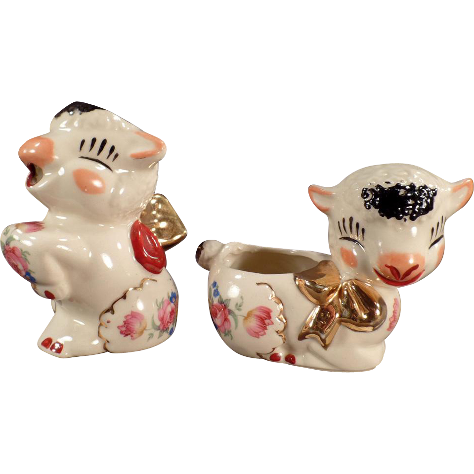 Vintage Shawnee Pottery Lambs - Old Cream & Sugar Set with Decals and Gold Accents