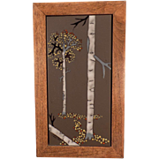 Framed Ceramic Art Tile with Aspen Trees - Attractive Old Accent Piece