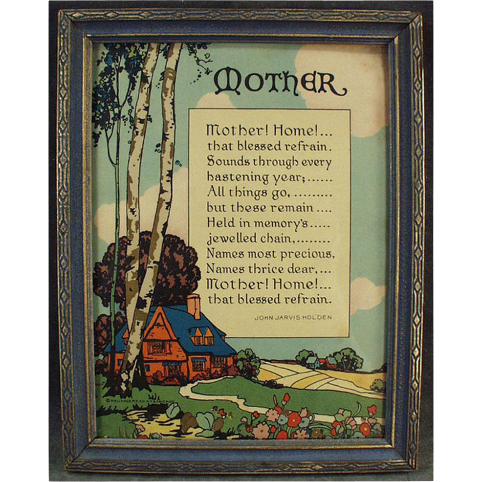 "Vintage Motto Print ""Mother! Home!"" - Old Poem by John Jarvis Holden"