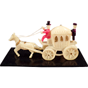 Vintage Celluloid Miniature - Old Celluloid Toy – Horse Drawn Princess Carriage