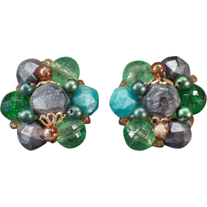 Vintage Costume Jewelry Earrings – German Bead Clip-on Earrings -Greens and Gray