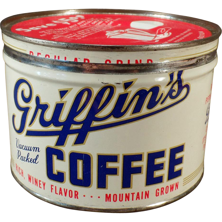 Vintage 1# Key Wind Coffee Tin - Old Griffin's Coffee – Muskogee, Oklahoma
