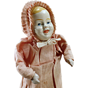 Vintage Squeaker Doll – Mechanical Doll with Painted Tin Head and Original Clothes