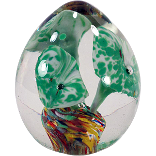 Vintage Glass Paperweight – Pretty Green Flowers Encased in Egg Shape