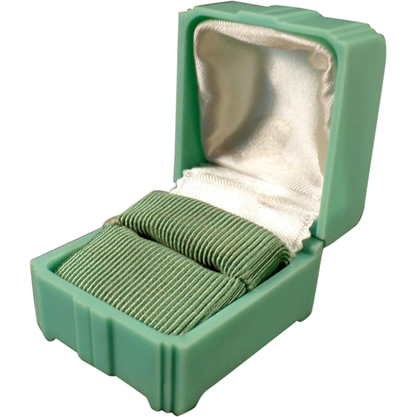 Vintage Ring Box – Old Bakelite Display Box – Mint Green with Deco Design