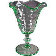 Vintage Soda Fountain Glassware - Stemmed Tulip Sundae Dish in Green - 4 Available