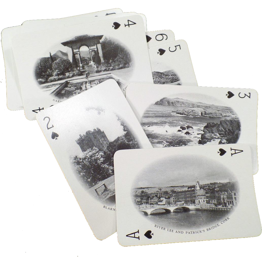 Vintage Souvenir Playing Cards – Old Deck of Cards with 52 Photos of Ireland