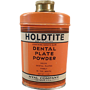 Vintage Holdtite Tin Denture Powder Tin - Old Dental Plate Powder Tin