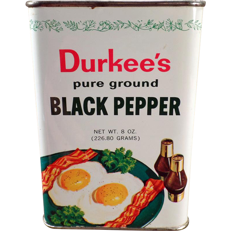 Vintage Spice Tin - Old Durkee's Black Pepper with Great Bacon and Eggs Graphics