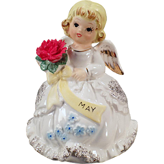 Vintage May Birthday Angel - Old Music Box with the Song Happy Birthday