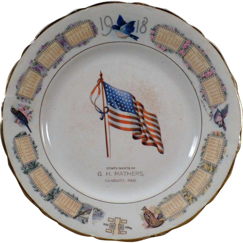 Vintage Advertising Souvenir Plate – Old Calendar Plate from 1918 with American Flag