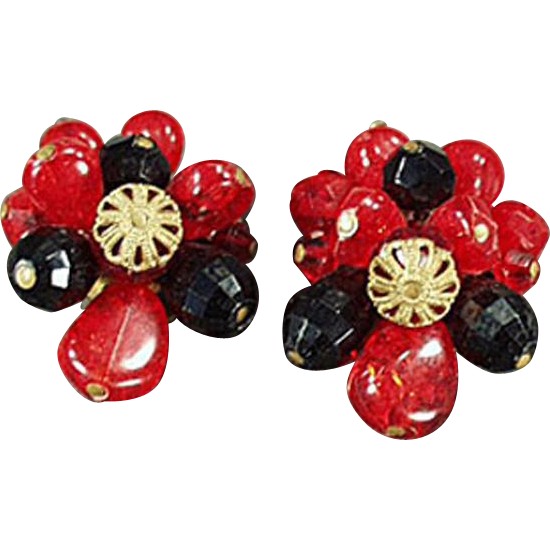 Vintage Costume Jewelry - Old Clip On Earrings - West German - Red and Black Glass Beads