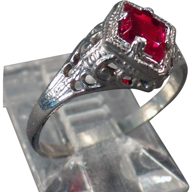 Child's Vintage Ring – White Filigree with Ruby Colored Stone
