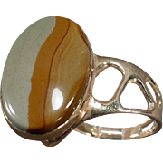 14k Gold and Picture Jasper Ring - Unusual Side Mount - Artisan Made Estate Jewelry