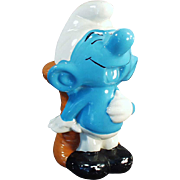 Vintage Blue Smurf Pottery Bank - Belly Laughing Penny Bank