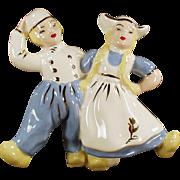 Vintage Pottery Planter - Dancing Dutch Boy & Girl Vase Planter