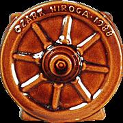 Vintage Frankoma Pottery - Souvenir Sugar Bowl - Old Wagon Wheel Pattern