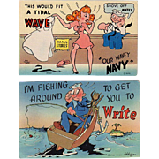 Two Vintage Postcards - Old Humorous Military Postcards - Colorful and Never Used