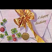 Vintage Postcard - Old Birthday Postcard - Envelope with Bow and5  Shamrocks