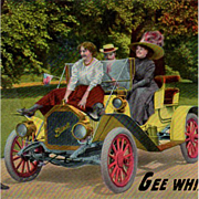 Vintage Postcard - Old Buick Advertising - Humorous Photo Card with Touring Car