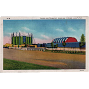 Vintage Postcard - 1933 Century of Progress Postcard - Travel and Transport Building