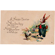Vintage Postcard - Old Easter Postcard with Dressed Rabbit and Baby Chick