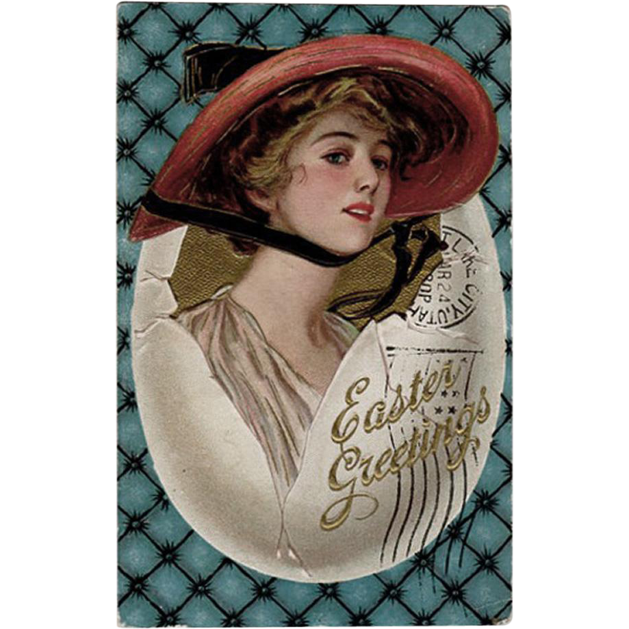 Vintage Postcard- Old Easter Greetings Postcard with Pretty Woman