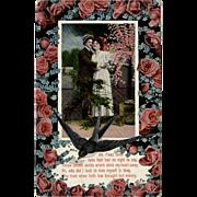Vintage German Postcard - Old Valentine Postcard with Lovelorn Poem and Roses