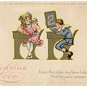 Vintage Postcard - Old Valentine Postcard with School Children