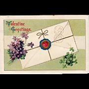 Vintage Postcard - Old Valentine Postcard with Violets and Shamrocks
