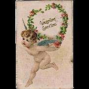 Vintage Postcard - Old German Valentine Postcard with Cherub