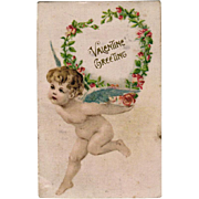 Vintage Postcard - Old German Valentine Postcard with Cherub