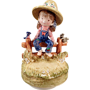 Vintage Music Box - Little Farm Girl on Fence Playing Tie a Yellow Ribbon Tune