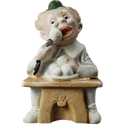 Vintage Match Holder - Old German Bisque Figurine - Comical Character
