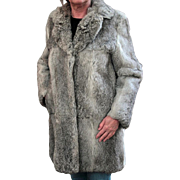 Ladies Vintage Fur Coat - Old Rabbit Fur Jacket - Pretty Silver Colored