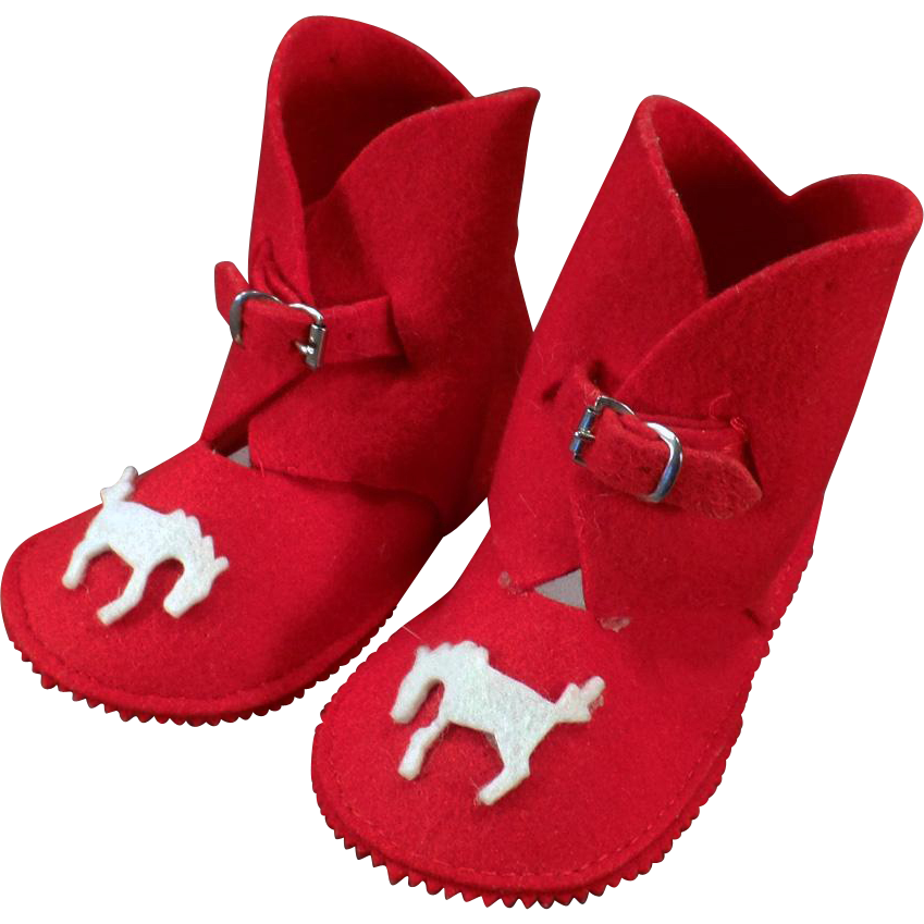 Vintage Baby Boot Booties – Red Felt Baby Shoes with Applied Horses