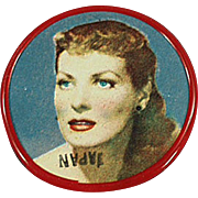 Vintage Celluloid Pocket Mirror - Old Mirror with Movie Star Maureen O'Hara