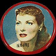 Vintage Celluloid Pocket Mirror - Old Mirror with Movie Star Maureen O'Hara