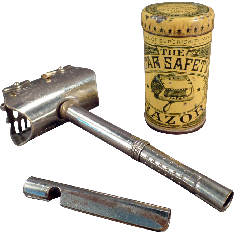 Vintage Star Safety Razor with Original Tin - Old Kampfe Bros. - ca.1880's