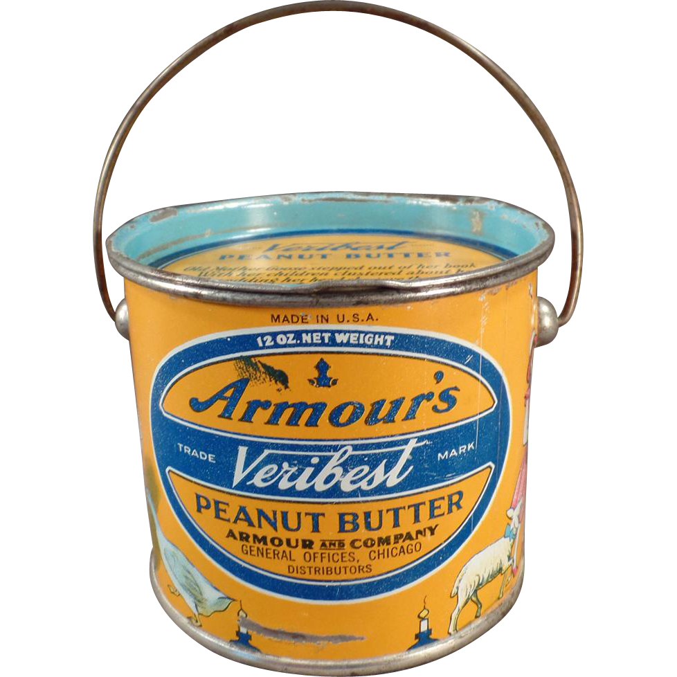 Vintage Peanut Butter Pail - Armour's Peanut Butter Tin - 12oz. Pail - Mother Goose Nursery Rhyme Graphics - Very Colorful