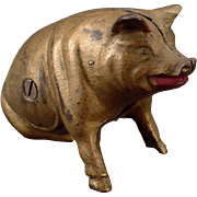 Vintage Cast Iron Pig Bank – Old Still Piggy Penny Bank