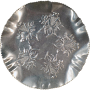 Vintage Aluminum Dish - Hammered Aluminum Serving Tray - Pretty Floral Design