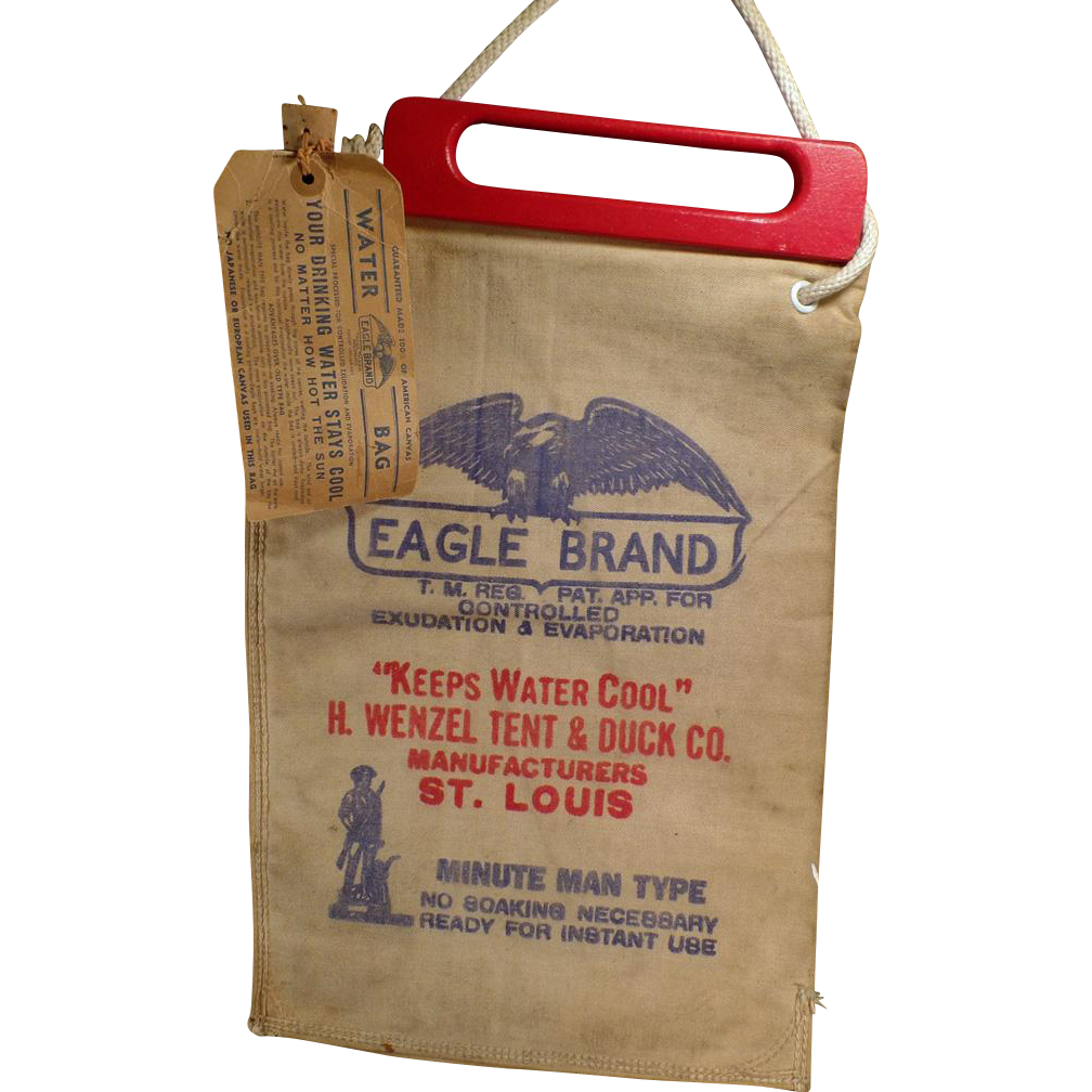 Vintage Radiator Water Bag - Old Eagle Brand Water Bag with Wood Handle & Original Label