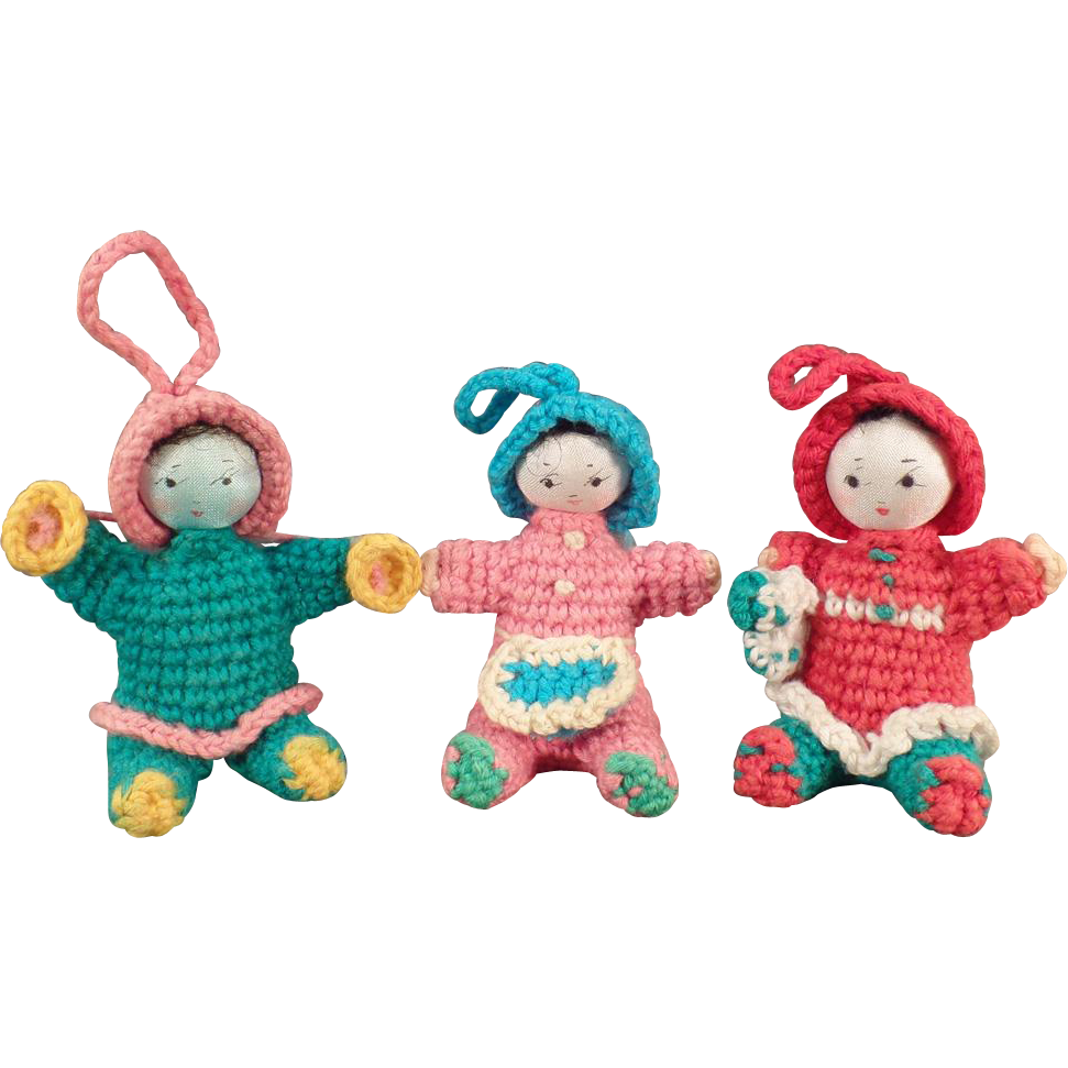 Vintage Miniature Dolls - Old Crocheted Dolls - Group of 3 Seated