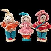 Vintage Miniature Crocheted Dolls - Group of Three Old Dolls