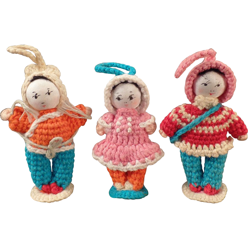 Vintage Miniature Crocheted Dolls - Group of Three Old Dolls