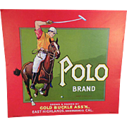 Vintage Crate Label – Polo Brand Fruit Crate Label – Gold Buckle Ass'n of California