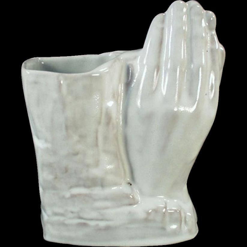Vintage Frankoma Pottery - Praying Hands Vase in White Glaze